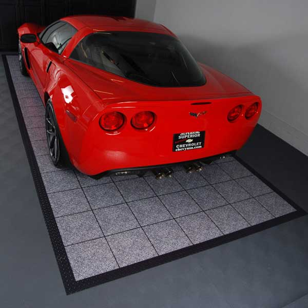 Quartz Epoxy Tile Parking Mat - Tuxedo