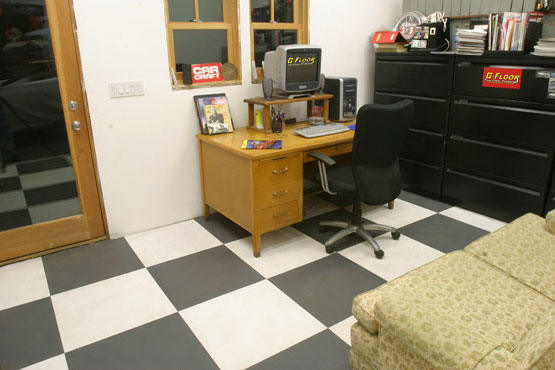 garage floor tiles used in an office