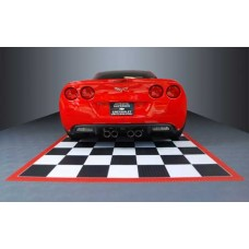 Checkered Tile Parking Mat with Red Border